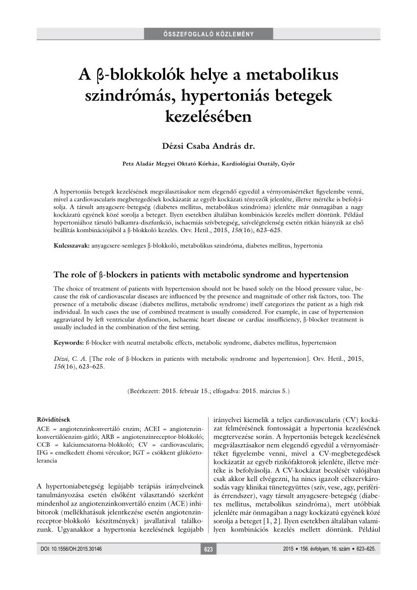 béta-blokkolók hipertónia ajánlásokhoz magas vérnyomással, magas légköri nyomással